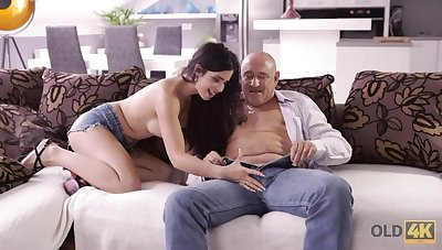 Dirty old fart fucks a beautiful young generalized upon big ass titties