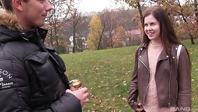 Eighteen year old Russian teen Cassie Fire swallows cum after a fuck