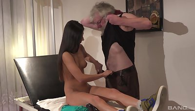 Hot and stunning Angela Allison likes hard sex with older dude on the bed