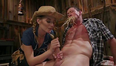 Hot blooded cowgirl Mona Wales finger fucks anus with the addition of jerks off eternal dick