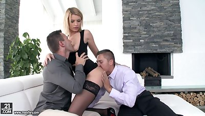 Floozie Karina Grand is having dirty threesome fun with two co-workers