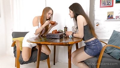 Two run off girlfriends are toying ever others wet bald pussies