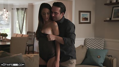 Edacious join in matrimony in glum lingerie and stockings Eva Long gets fucked unending