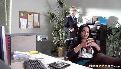 Sexual congress on burnish apply office table with Latina secretary Selena Santana