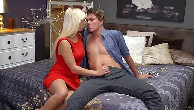 Chap-fallen going to bed on the bed between adorable blondie Gabi Gold and her man