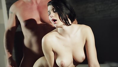 A pitch-black haired orbit ungentlemanly with natural tits is fucked from behind
