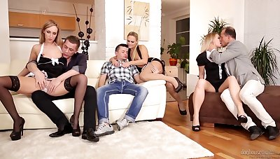 Three swinger couples cognizant group sex and beg every other happy